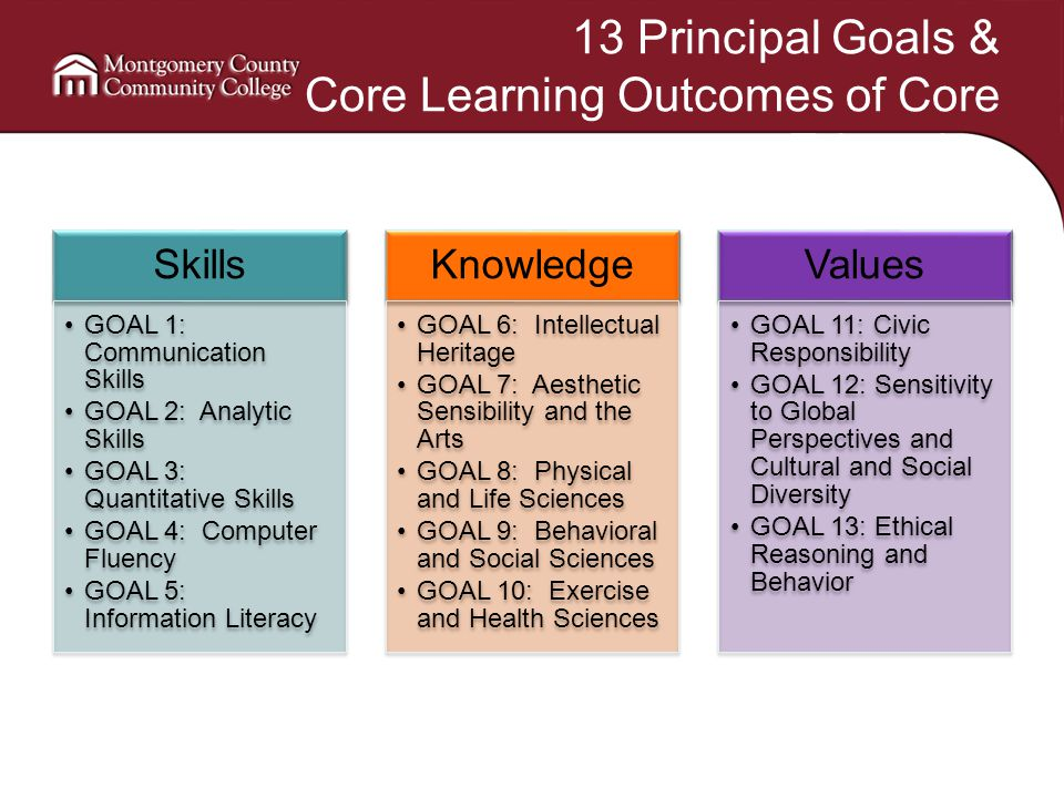 13 Principal Goals & Core Learning Outcomes of Core Education Skills GOAL 1: Communication Skills GOAL 2: Analytic Skills GOAL 3: Quantitative Skills GOAL 4: Computer Fluency GOAL 5: Information Literacy Knowledge GOAL 6: Intellectual Heritage GOAL 7: Aesthetic Sensibility and the Arts GOAL 8: Physical and Life Sciences GOAL 9: Behavioral and Social Sciences GOAL 10: Exercise and Health Sciences Values GOAL 11: Civic Responsibility GOAL 12: Sensitivity to Global Perspectives and Cultural and Social Diversity GOAL 13: Ethical Reasoning and Behavior