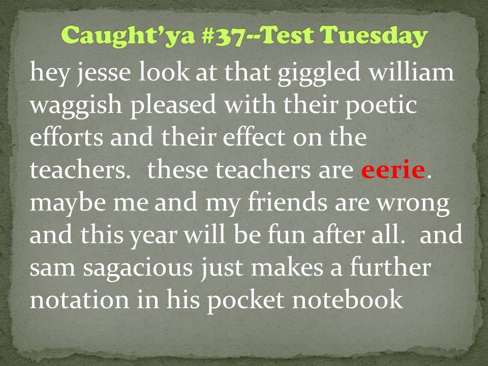 hey jesse look at that giggled william waggish pleased with their poetic efforts and their effect on the teachers. these teachers are eerie. maybe me
