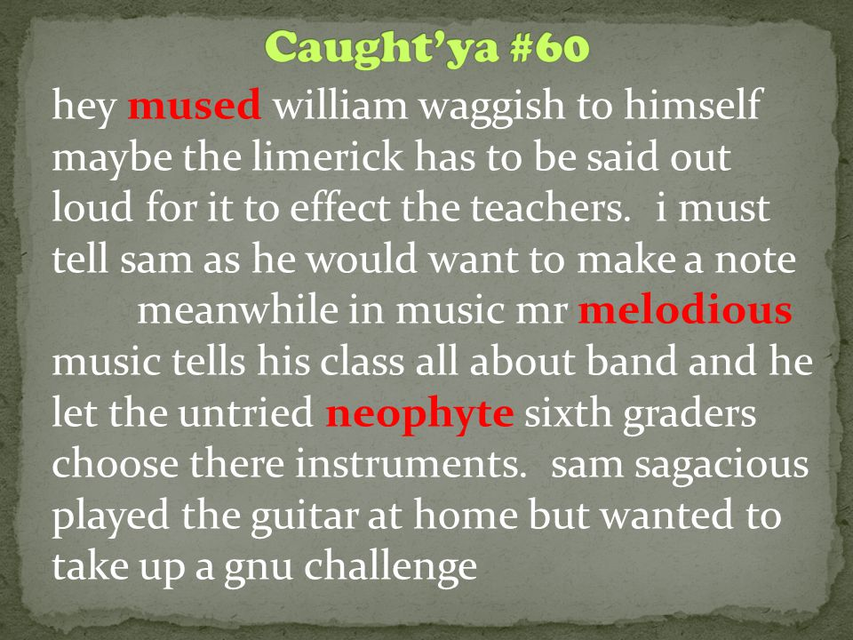 hey mused william waggish to himself maybe the limerick has to be said out loud for it to effect the teachers. i must tell sam as he would want to mak