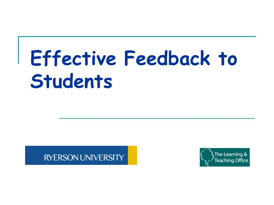 Effective Feedback to Students