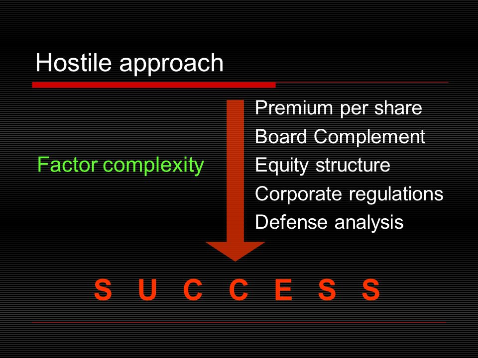 Hostile approach Premium per share Board Complement Equity structure Corporate regulations Defense analysis S U C C E S S Factor complexity
