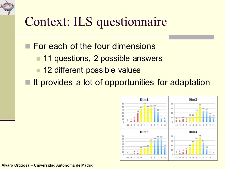 Alvaro Ortigosa – Universidad Autonoma de Madrid Context: ILS questionnaire For each of the four dimensions 11 questions, 2 possible answers 12 different possible values It provides a lot of opportunities for adaptation