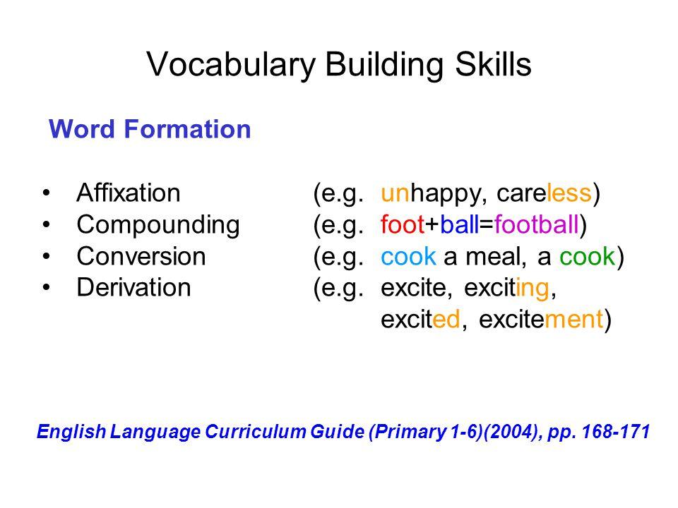 Vocabulary Building Skills Word Formation Affixation (e.g. unhappy, careless) Compounding (e.g. foot+ball=football) Conversion (e.g. cook a meal, a co