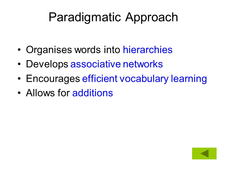 Organises words into hierarchies Develops associative networks Encourages efficient vocabulary learning Allows for additions
