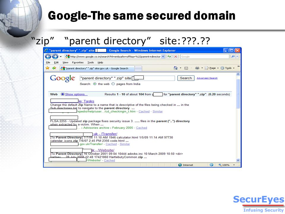 Google-The same secured domain zip parent directory site: .