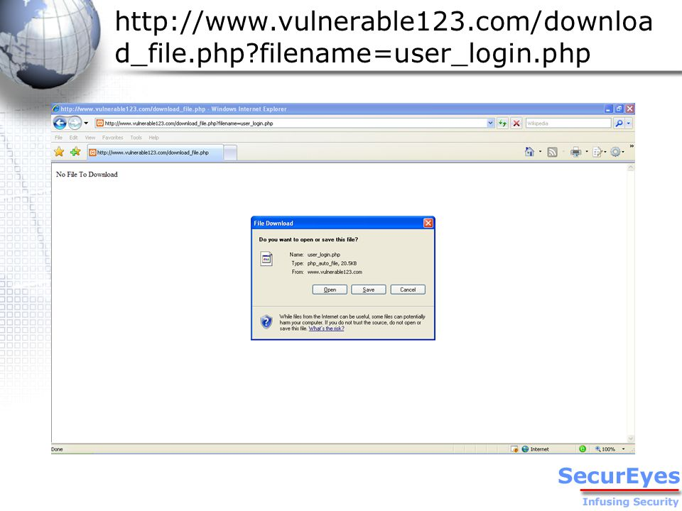 http://www.vulnerable123.com/downloa d_file.php filename=user_login.php