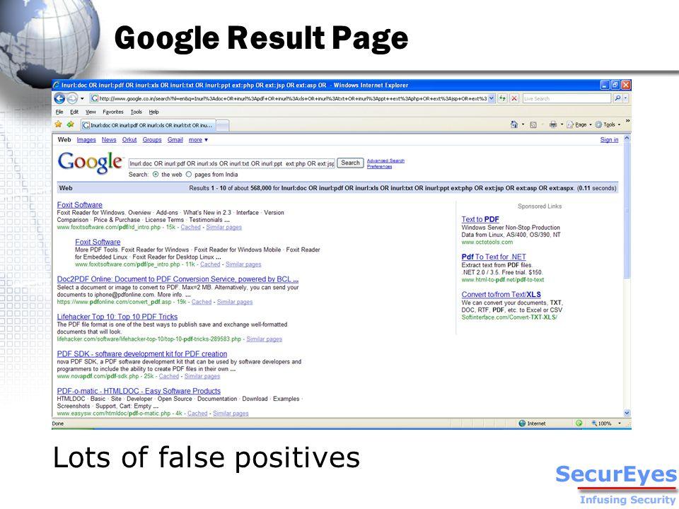 Google Result Page Lots of false positives