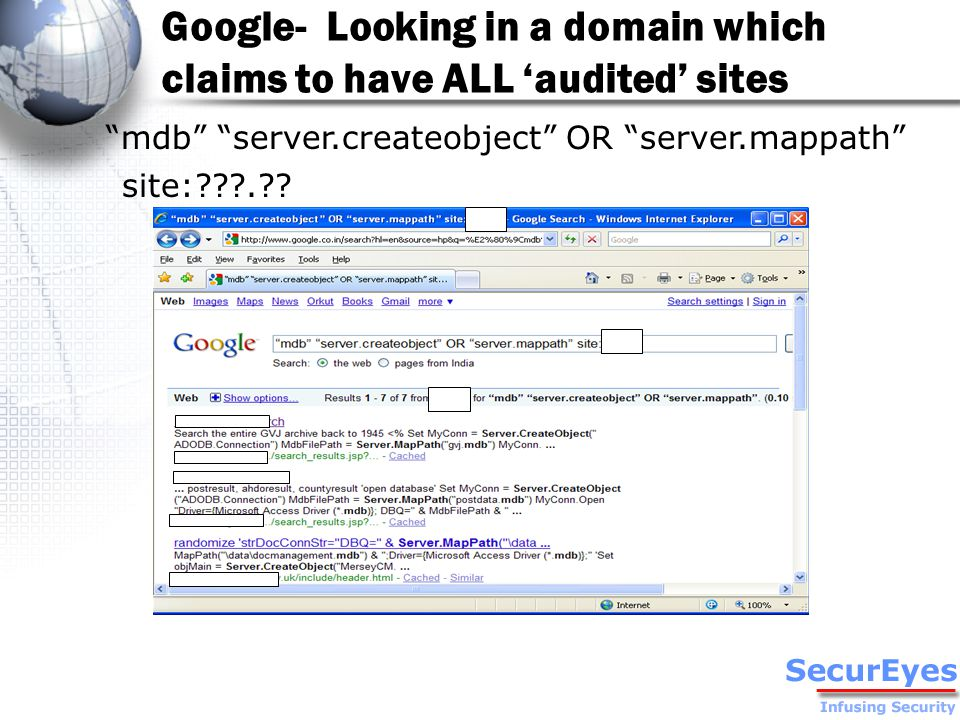 Google- Looking in a domain which claims to have ALL 'audited' sites mdb server.createobject OR server.mappath site: .