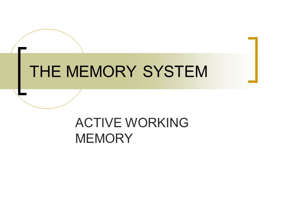 THE MEMORY SYSTEM ACTIVE WORKING MEMORY