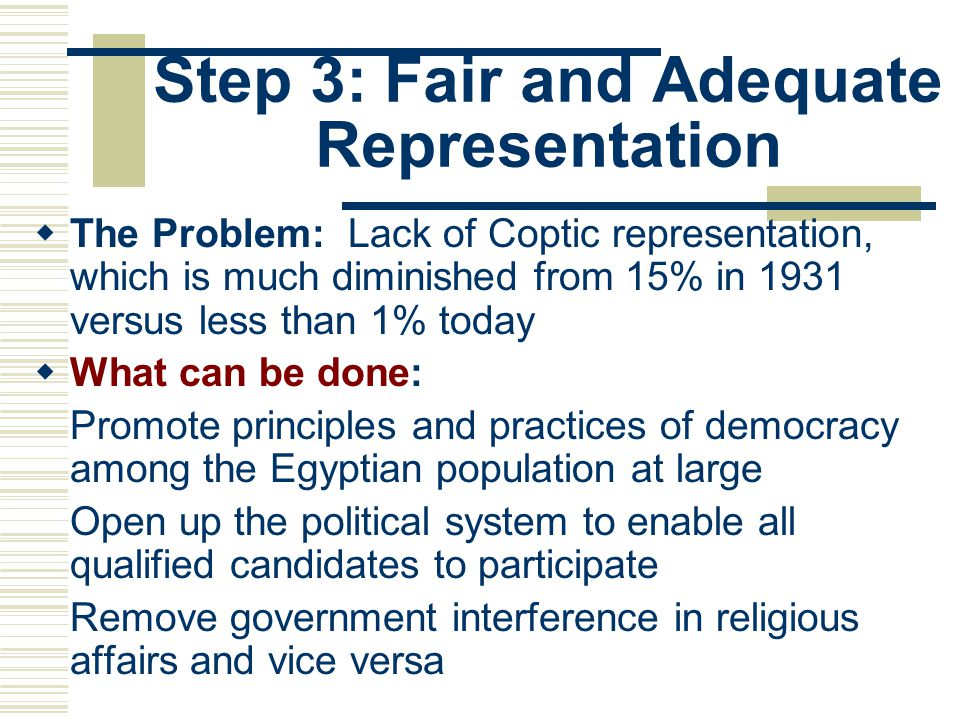 Step 3: Fair and Adequate Representation  The Problem: Lack of Coptic representation, which is much diminished from 15% in 1931 versus less than 1% t