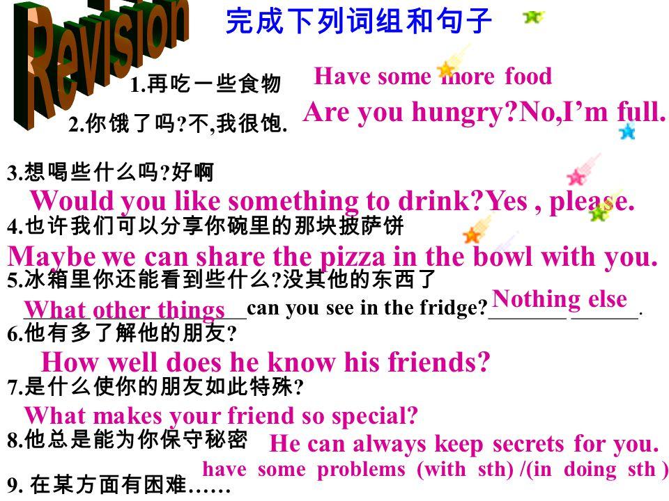 1. 再吃一些食物 2. 你饿了吗 . 不, 我很饱. 3. 想喝些什么吗 . 好啊 4.
