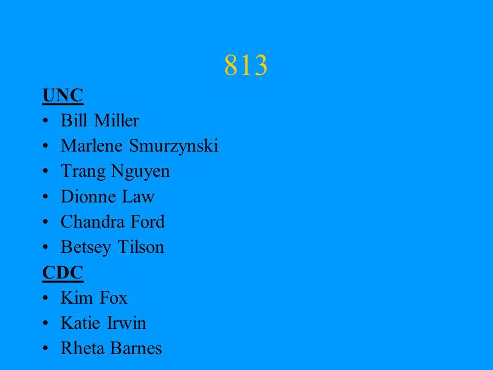 813 UNC Bill Miller Marlene Smurzynski Trang Nguyen Dionne Law Chandra Ford Betsey Tilson CDC Kim Fox Katie Irwin Rheta Barnes