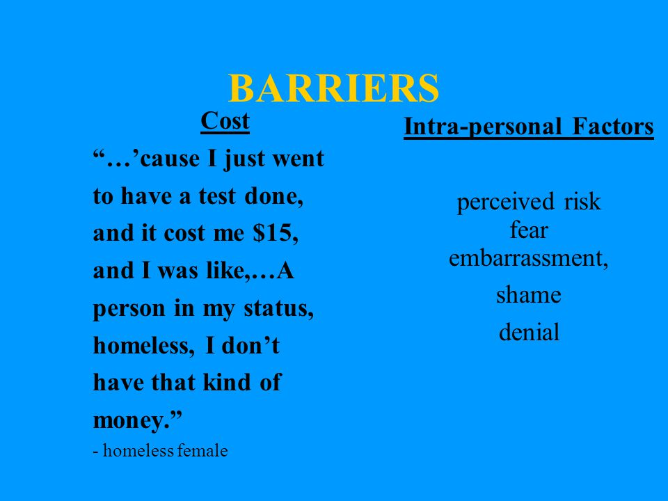 BARRIERS Cost …'cause I just went to have a test done, and it cost me $15, and I was like,…A person in my status, homeless, I don't have that kind of money. - homeless female Intra-personal Factors perceived risk fear embarrassment, shame denial