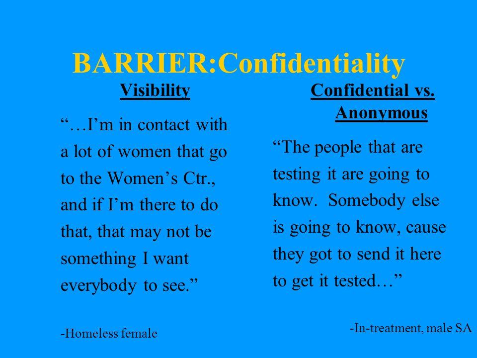 BARRIER:Confidentiality Visibility …I'm in contact with a lot of women that go to the Women's Ctr., and if I'm there to do that, that may not be something I want everybody to see. -Homeless female Confidential vs.