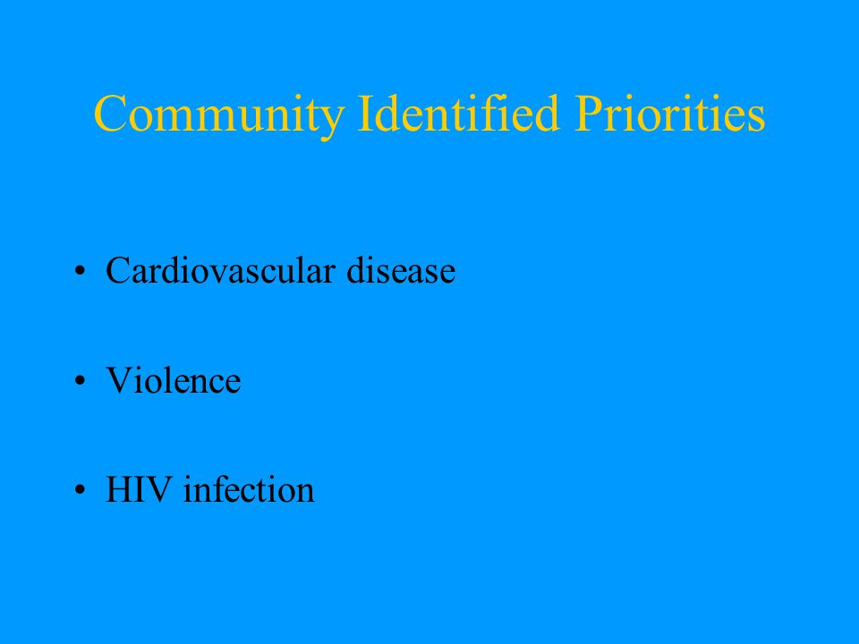 Community Identified Priorities Cardiovascular disease Violence HIV infection