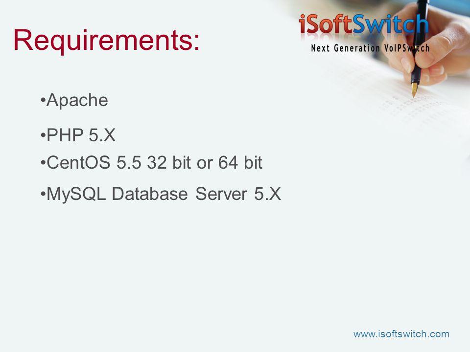 Requirements: Apache PHP 5.X CentOS 5.5 32 bit or 64 bit MySQL Database Server 5.X www.isoftswitch.com