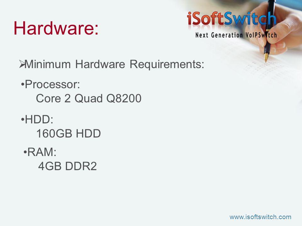 Hardware:  Minimum Hardware Requirements: Processor: Core 2 Quad Q8200 HDD: 160GB HDD RAM: 4GB DDR2 www.isoftswitch.com