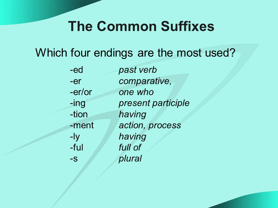 The Common Suffixes Which four endings are the most used.