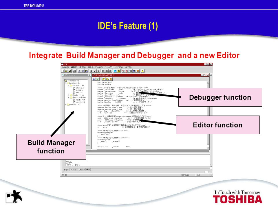 TEE MCU/MPU IDE's Feature (1) Integrate Build Manager and Debugger and a new Editor Build Manager function Debugger function Editor function