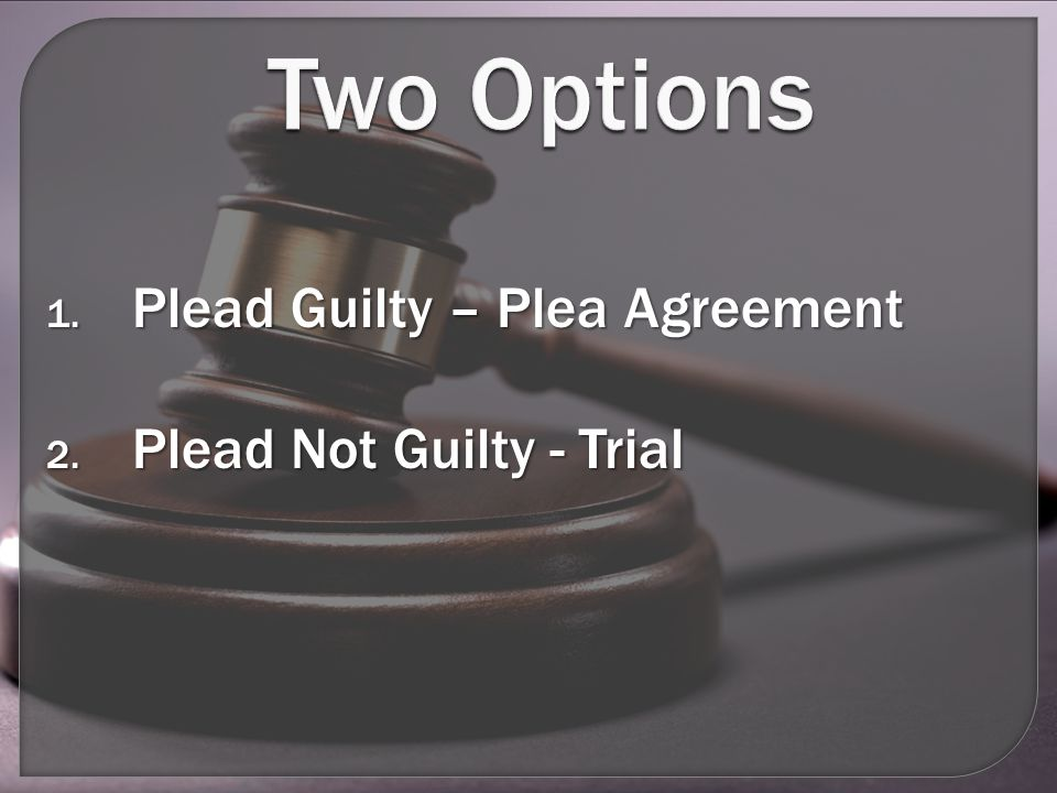 Two Options 1. Plead Guilty – Plea Agreement 2. Plead Not Guilty - Trial