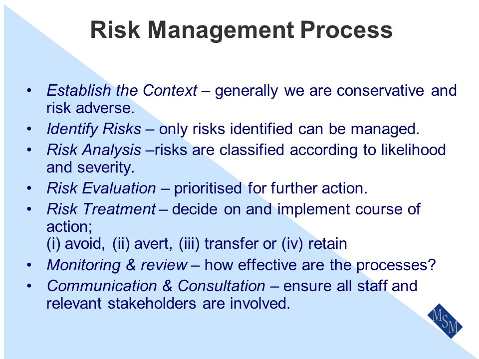 Risk Management Process Overview I N P UT Establish Context Identify Risks Analyse Risks Evaluate Risks Treat Risks M O N I T O R & R EV I E W
