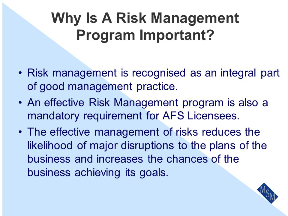 What Risk Management Is Not Another name for insurance (Insurance is the treatment option for an identified risk where the risk is shared or transferred).