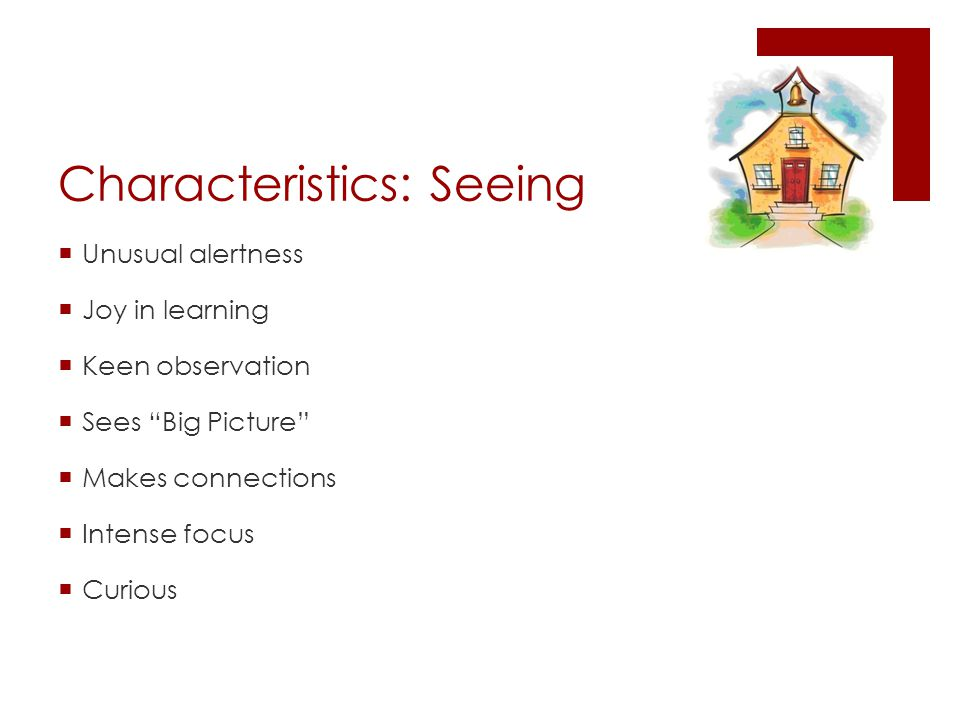 Characteristics: Seeing  Unusual alertness  Joy in learning  Keen observation  Sees Big Picture  Makes connections  Intense focus  Curious