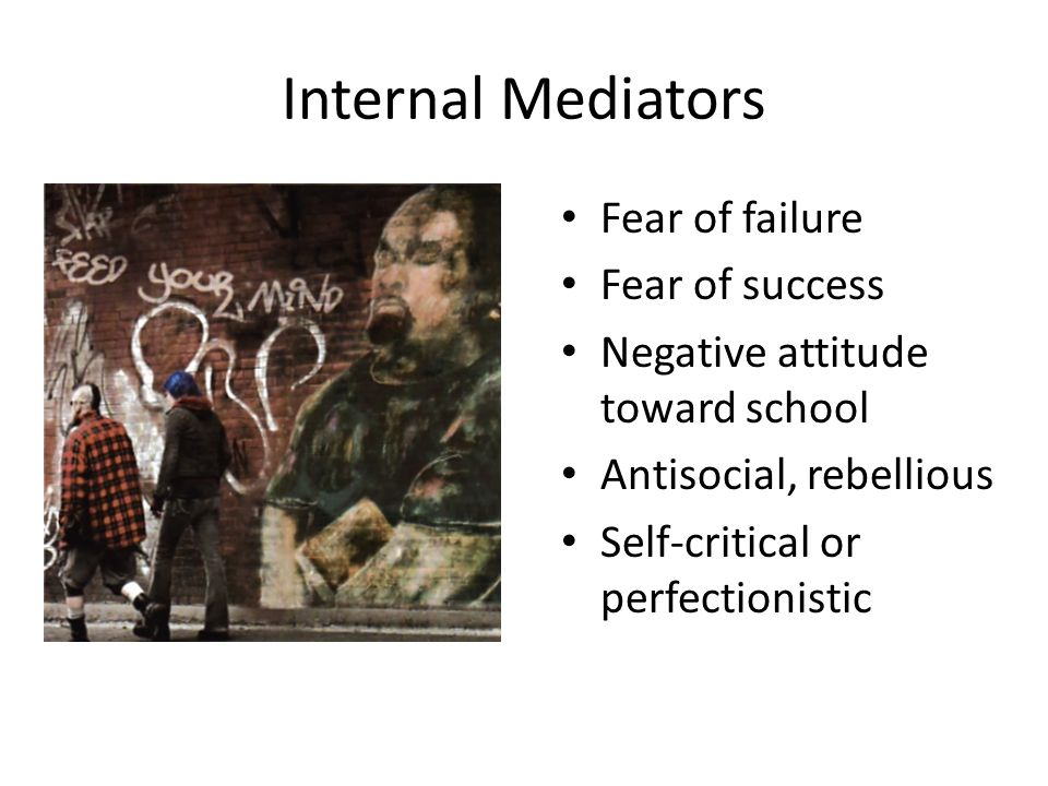 Internal Mediators Fear of failure Fear of success Negative attitude toward school Antisocial, rebellious Self-critical or perfectionistic