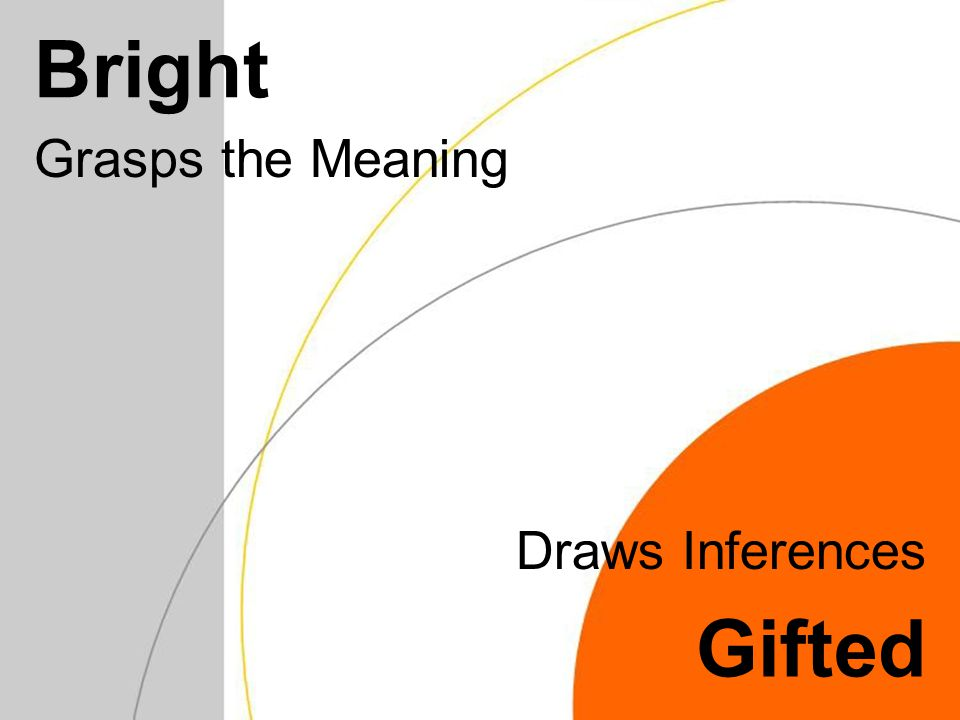 Bright Grasps the Meaning Gifted Draws Inferences