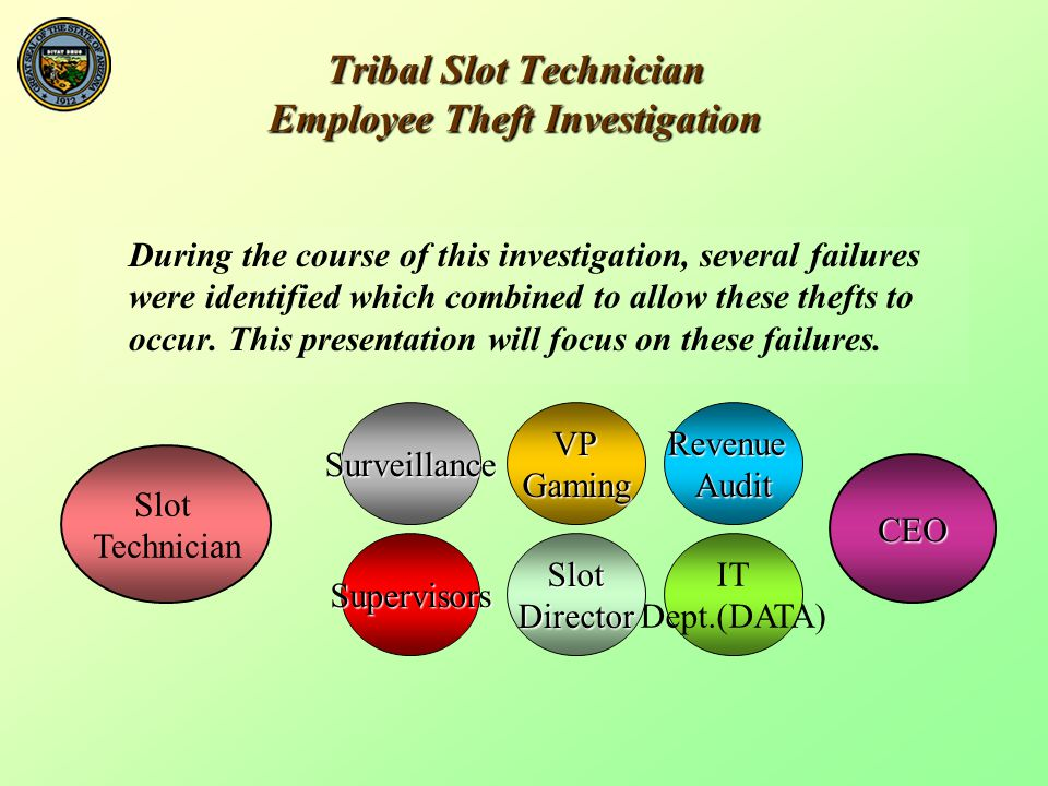Tribal Slot Technician Employee Theft Investigation During the course of this investigation, several failures were identified which combined to allow these thefts to occur.