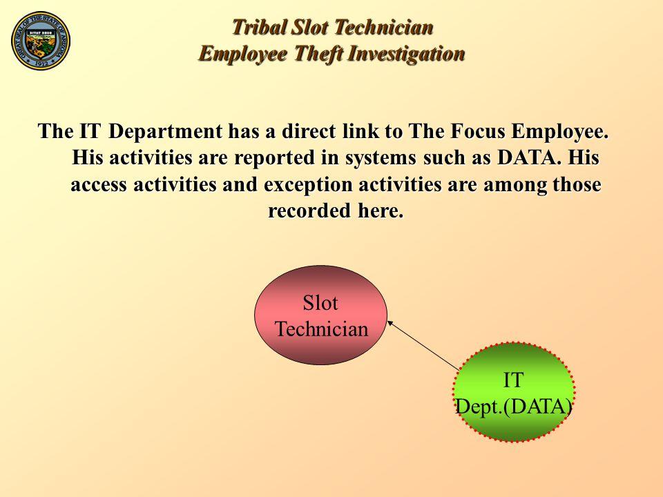 Tribal Slot Technician Employee Theft Investigation Slot Technician IT Dept.(DATA) RevenueAudit VP Gaming/ Slot Director The CEO has direct links to the VP, the Director and Revenue Audit.