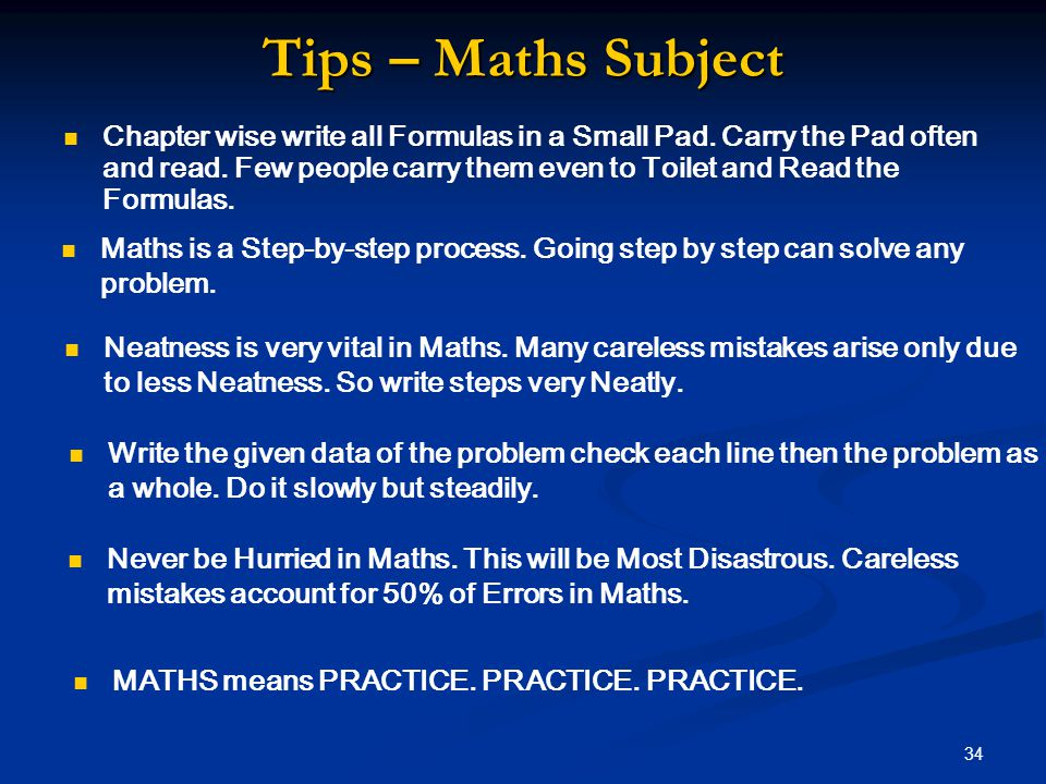 Tips – Maths Subject Chapter wise write all Formulas in a Small Pad.