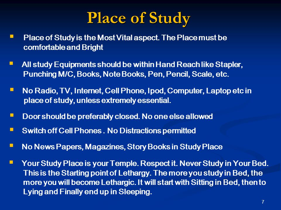 Place of Study  Place of Study is the Most Vital aspect.