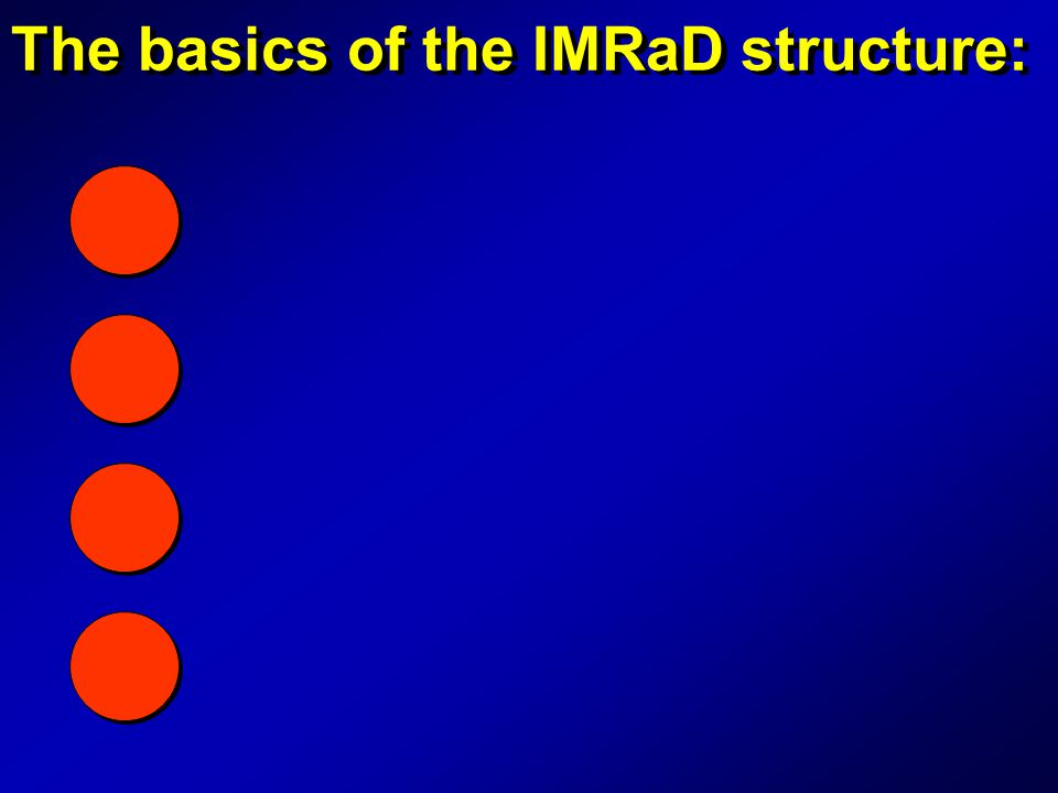 The basics of the IMRaD structure: