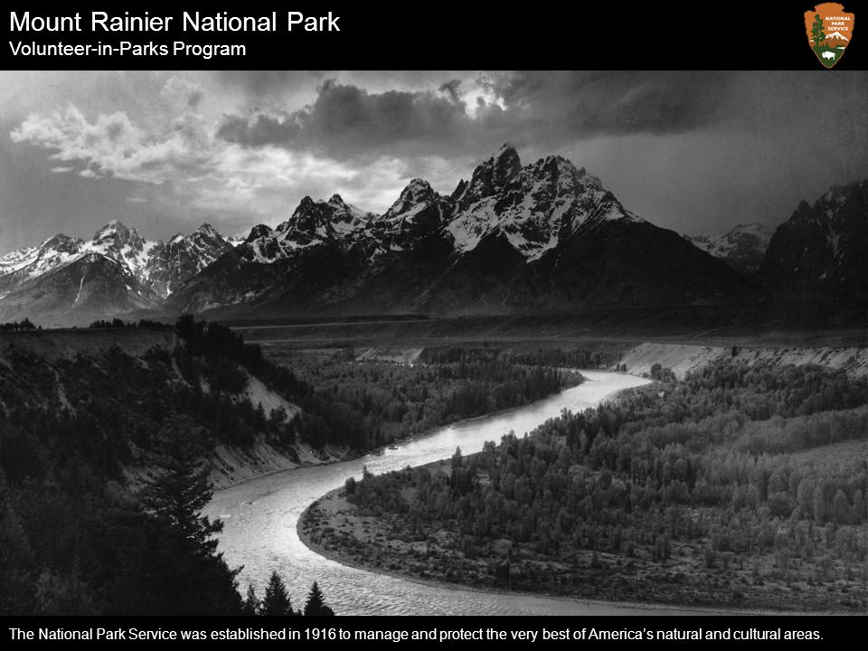 Mount Rainier National Park Volunteer-in-Parks Program The National Park Service was established in 1916 to manage and protect the very best of Americ