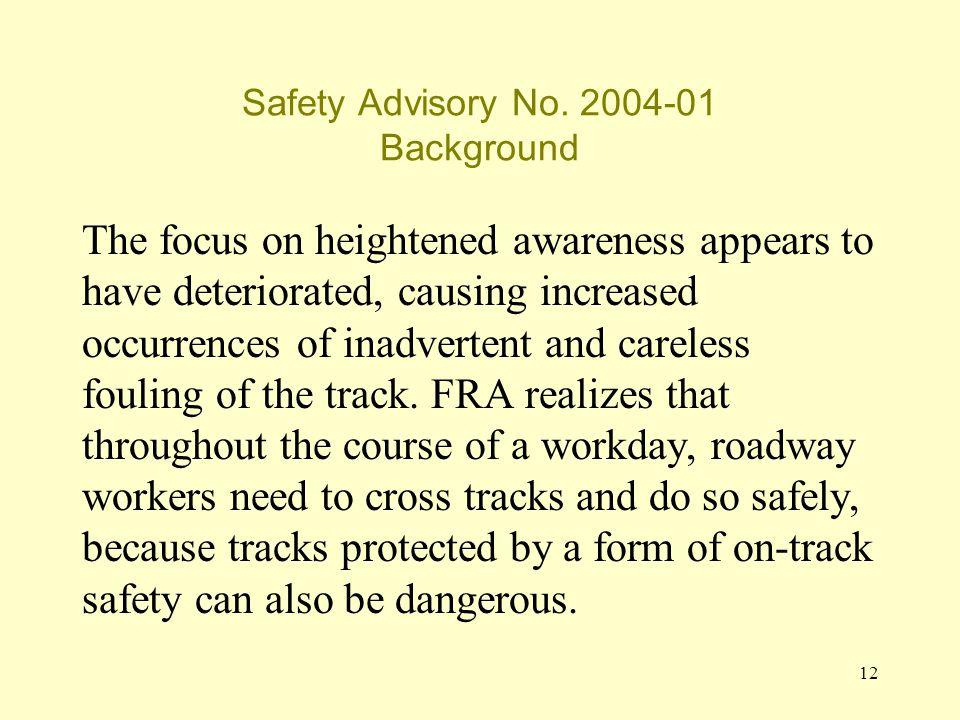 12 Safety Advisory No.