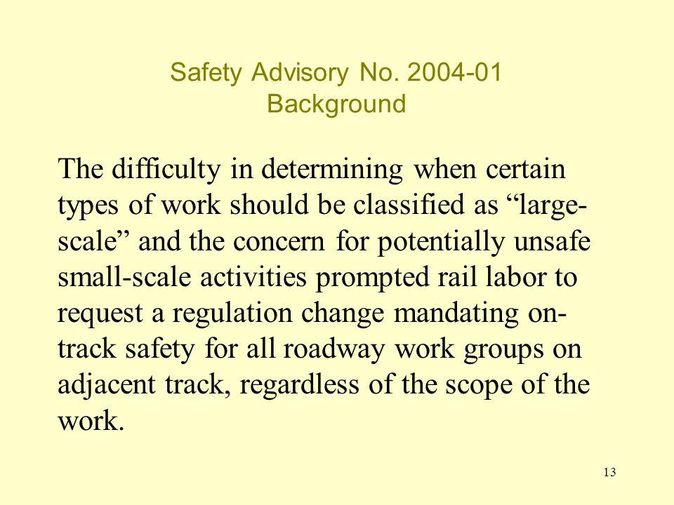 13 Safety Advisory No.