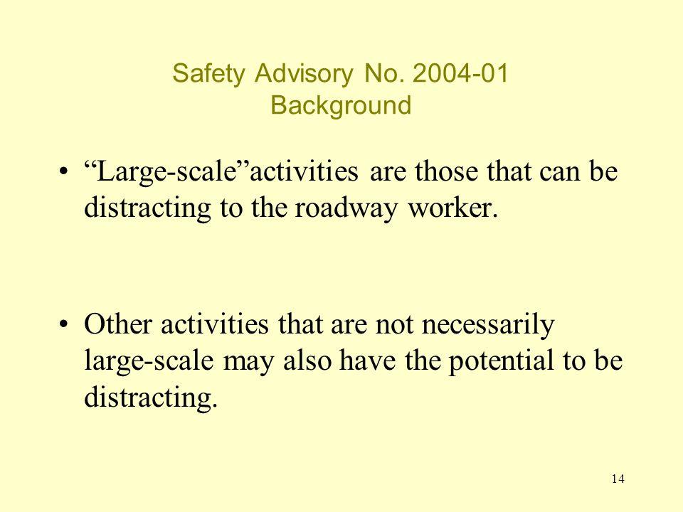 14 Safety Advisory No.