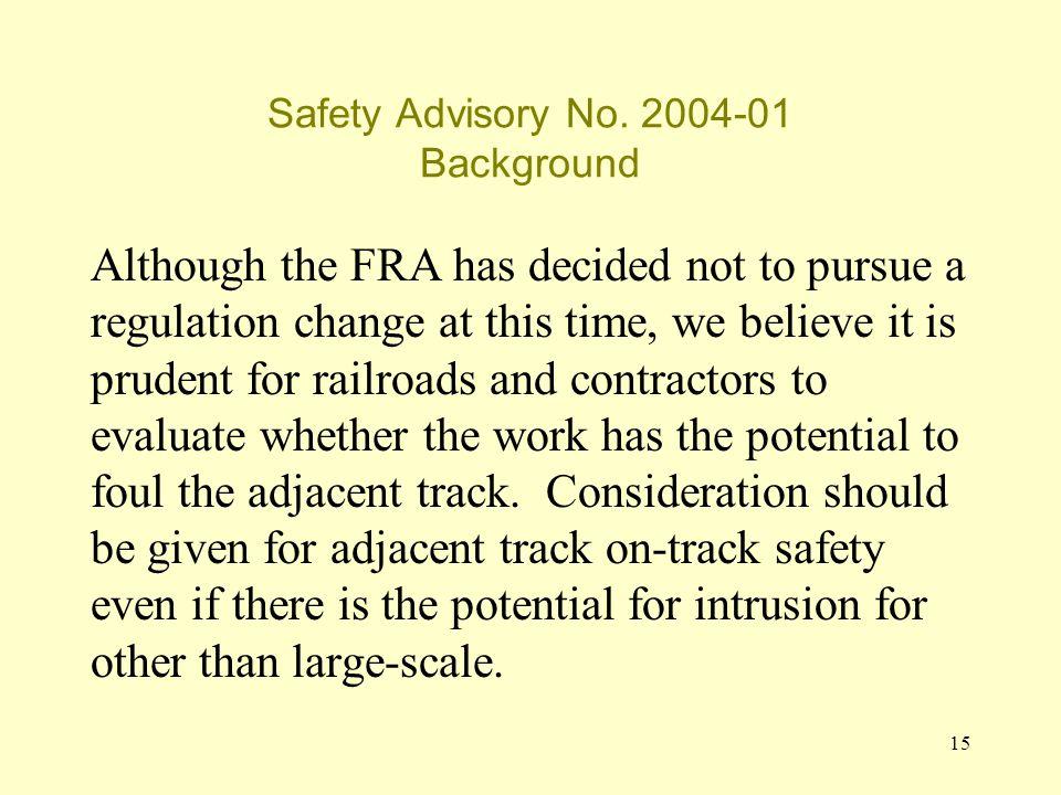 15 Safety Advisory No.