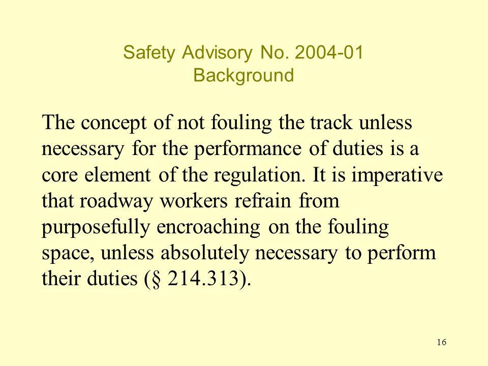 16 Safety Advisory No.
