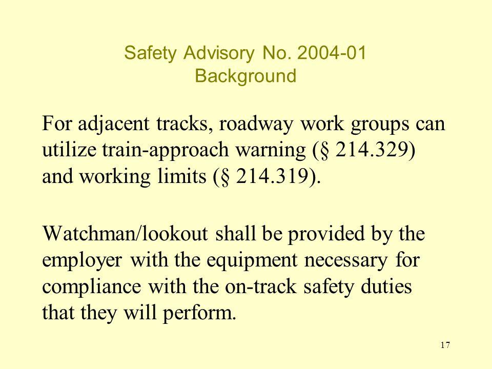 17 Safety Advisory No.
