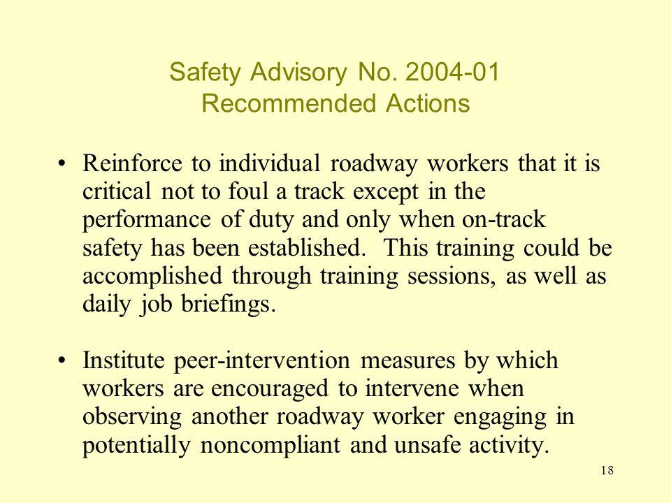 18 Safety Advisory No.