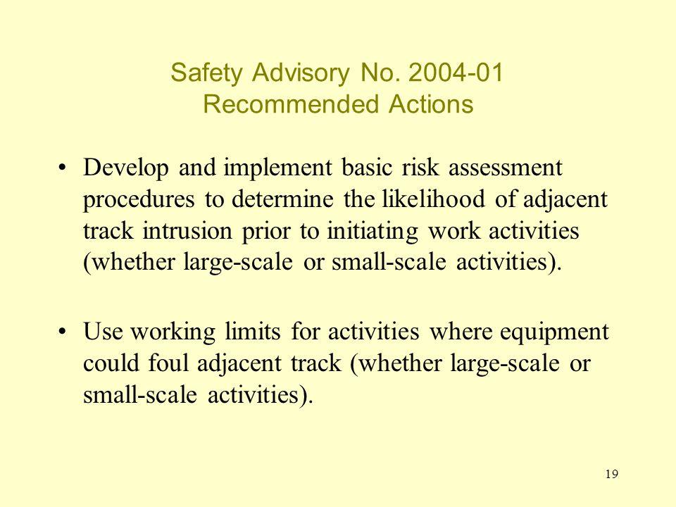 19 Safety Advisory No.