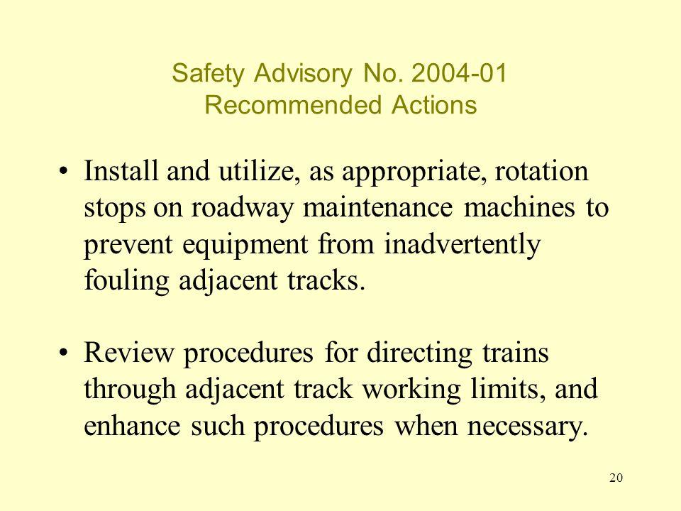 20 Safety Advisory No.
