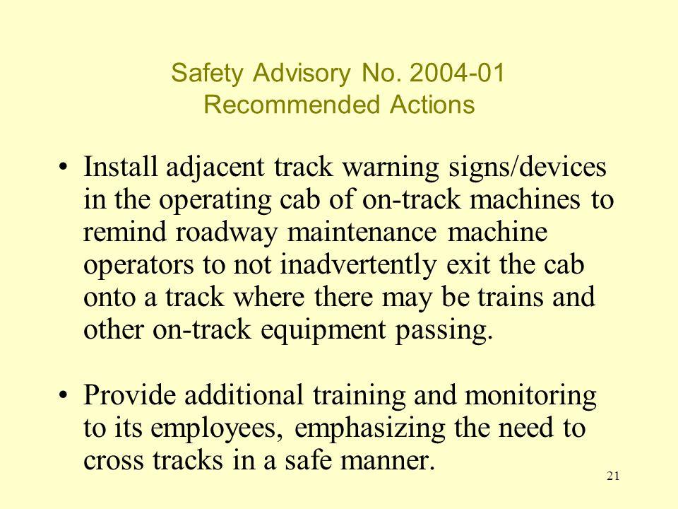 21 Safety Advisory No.