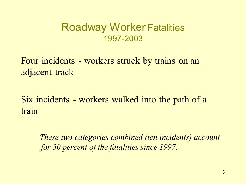 3 Roadway Worker Fatalities 1997-2003 Four incidents - workers struck by trains on an adjacent track Six incidents - workers walked into the path of a train These two categories combined (ten incidents) account for 50 percent of the fatalities since 1997.