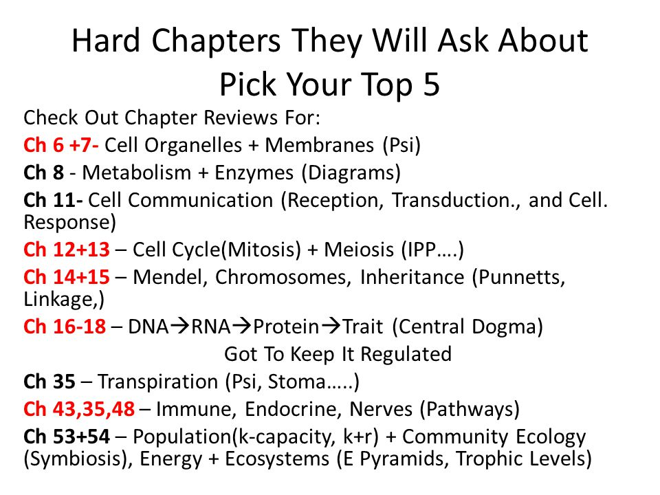 Hard Chapters They Will Ask About Pick Your Top 5 Check Out Chapter Reviews For: Ch 6 +7- Cell Organelles + Membranes (Psi) Ch 8 - Metabolism + Enzymes (Diagrams) Ch 11- Cell Communication (Reception, Transduction., and Cell.