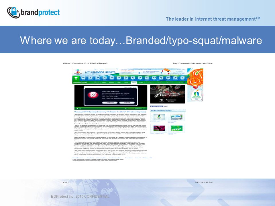 The leader in internet threat management TM BDProtect Inc.