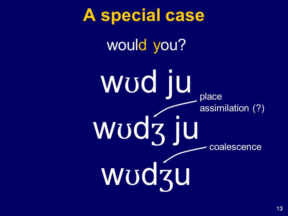 13 A special case would you w ʊ d ju w ʊ d ʒ ju wʊdʒuwʊdʒu place assimilation ( ) coalescence