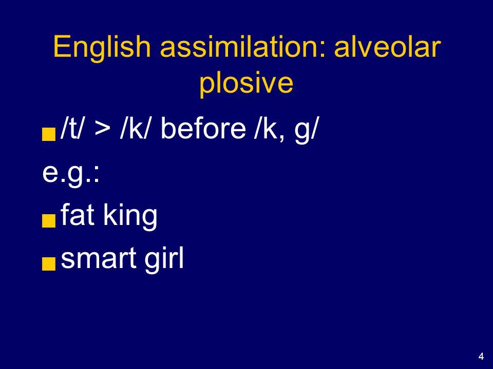 4 English assimilation: alveolar plosive  /t/ > /k/ before /k, g/ e.g.:  fat king  smart girl